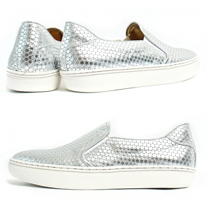 Handmade Shiny Silver Honeycomb Pattern Leather Slip on Loafers 5411