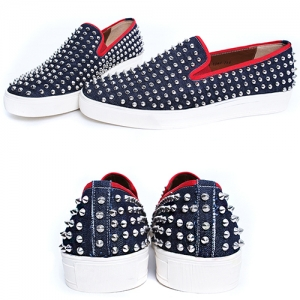 Handmade Studs Slip On Loafers - Blue 5340