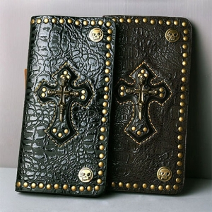 Skull-Cross Leather Long Wallet