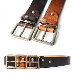 Square Buckle Cowhide Leather Jeans Belt