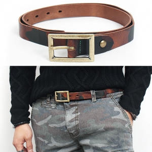 Camouflage Pattern Redish Brown Skinny Leather Belt