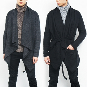 Knit Shawl Collar Waist Strap Cardigan