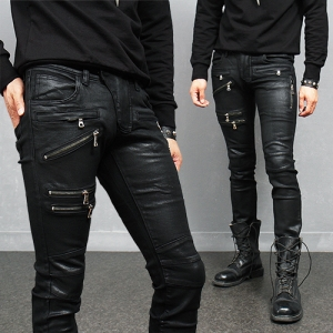Zippered Styling Coated Black Skinny Jeans 108