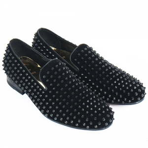 Handmade Studded Black Velvet Leather Loafers 5210