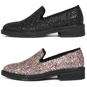 Handmade Black Multi Color Crystal Glitter Encrusted Loafers 5547