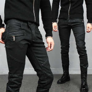 Black Wax Coated Zipper Pocket Bikers Skinny Jeans 936
