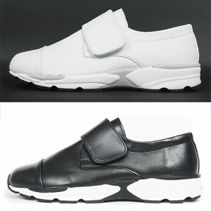 Faux Leather Athletic Style Velcro Closure Runner Sneakers 212
