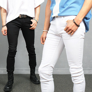 Slim Fit Black White Stretchable Spandex Skinny Jeans 970