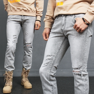 Destroyed Knee Cutting Distressed Slim Gray Jeans 2128