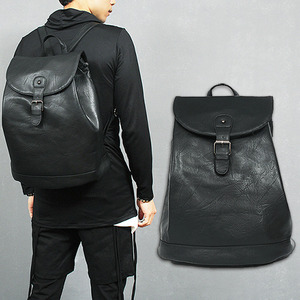 Faux Leather Buckle Magnetic Button Zipper Backpack