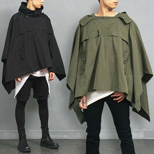 Mens Fashion Avant garde Draping Hood Poncho Cardigan