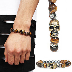 3D Skull Brown Natural Stone Beads Bracelet 188