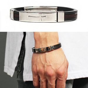 Stainless Steel Panel Cross Rubber Strap Bracelet 192
