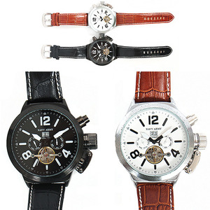 Navy Army Round Snake Pattern Leather Watches N337