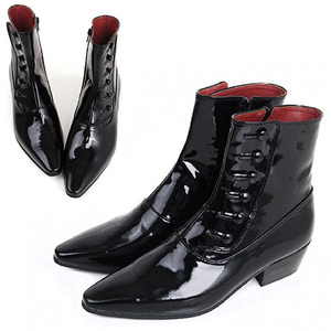 Handmade Patent Black Leather Boots - 0028-33 Dandy Style