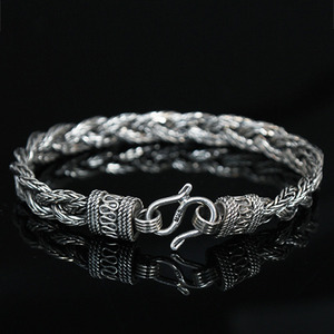 Genuine Sliver Unique Shape Design Double Strap Bracelet S7