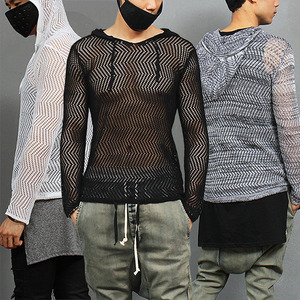Sexy Guy Slim Fit Zigzag See Through Hood Mesh Knit