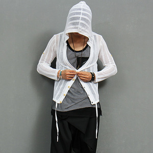 Slim Mesh Button Up Knit Hoodie