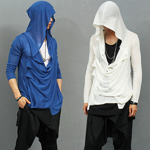 Draped Shirring Side Button Up See Through Hood Cardigan