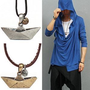 Origami Steel Ship Pendant Strap Necklace 50