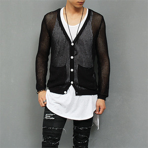 Slim See Through Mesh Button Up Pocket Knit Cardigan