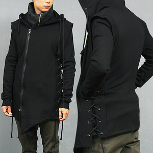 Avant garde Side Eyelet Strap Hooded Unbalanced Hem Sweatjacket