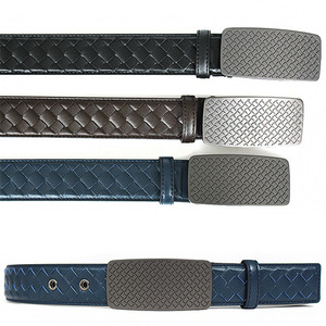 Weave Pattern Square Panel Buckle Leather Belt