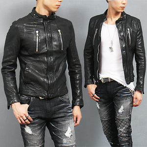 Split Side Zipper Riders Genuine Lambskin Leather Jacket
