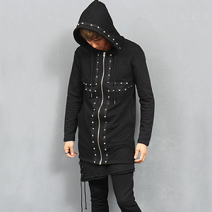 Avant garde Cross Studs Mesh Layered Zip Up Hoodie