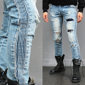 Side Ribbed Vintage Ripped Faded Blue Slim Jeans