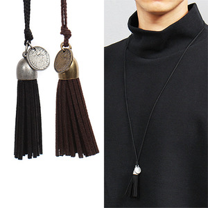 Synthetic Suede Tassel Coin Strap Necklace 55