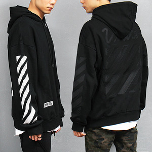 Contrast Check Stitched Boxy Black White Pocket Hoodie