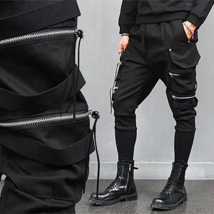 Double Zipper Big Pocket Long Ribbed Hem Sweatpants