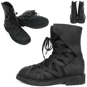 Layered Web Mesh Zig Zag Leather Back Zipper Boots 028