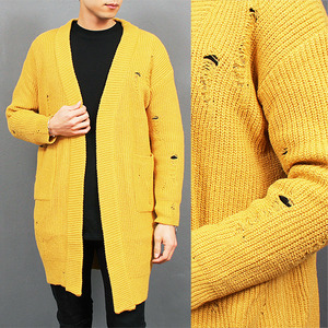 Vintage Style Destroyed Damaged Knit Long Cardigan