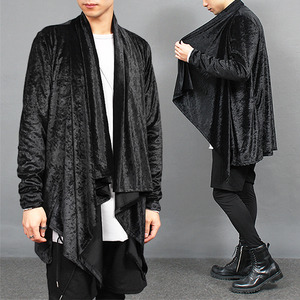Shawl Collar Velvet Draping Cardigan