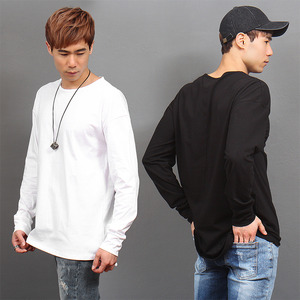 Loose Fit Long Back Hem Basic Cotton Tee