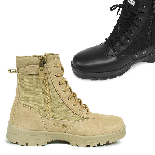 Military Army Zip Up Leather High Top Boots