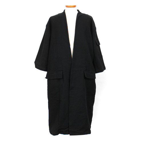Bird Wing Stitch Linen Half Sleeve Open Coat