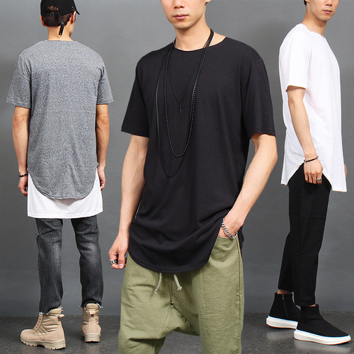Loose Fit Long Shirttail Hem Basic Tee