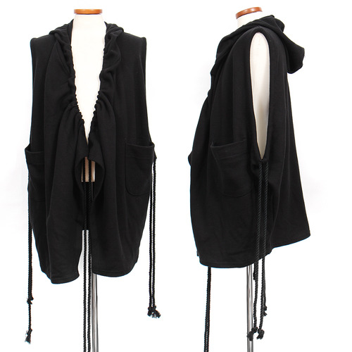 Long Rope Strap Hood Shawl Vest