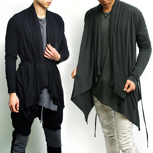 Avant-garde Shoulder Collar String Long Cardigan