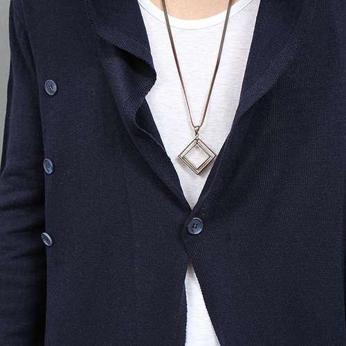Draped Shirring Side Button Up Wool Hood Cardigan
