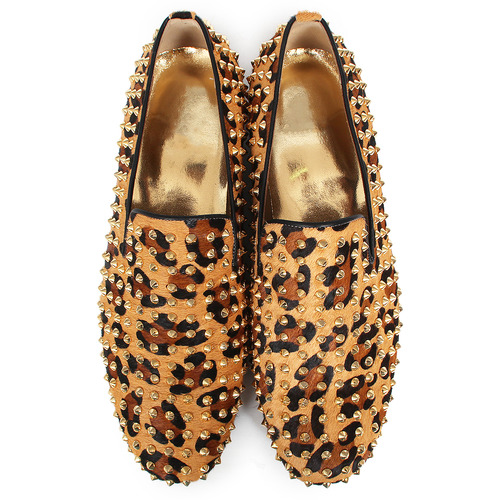 Leopard Unborn Calf Stud Loafers - Gold Tone Studs-5210