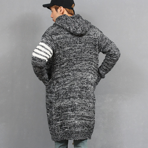 Striped Arm Hood Long Knit Cardigan