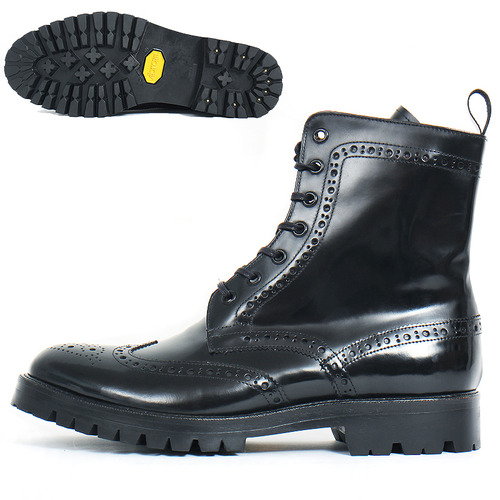 Handmade High top Lace Up Wingtip Brogue Boots 3381