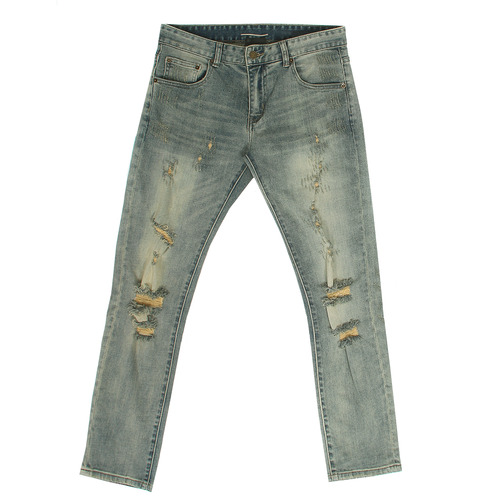 Vintage Faded Distressed Ripped Slim Jeans