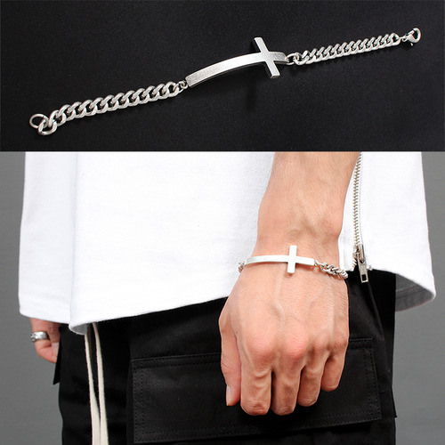 Curved Cross Steel Chain Bracelet B212