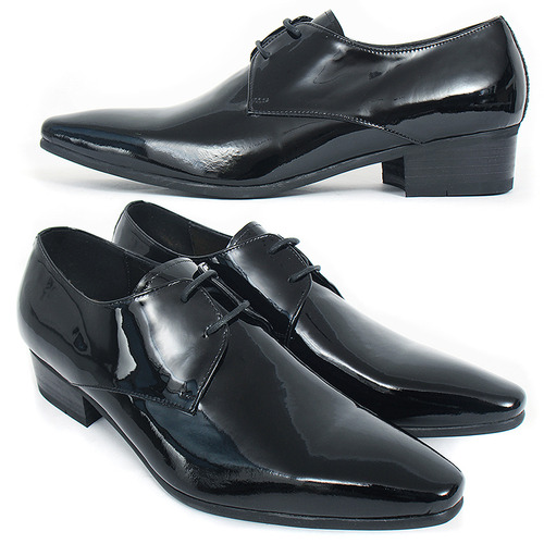 Handmade Pointed Toe Black Patent Leather Oxfords 2712