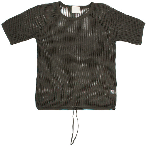 See Through Mesh Waist Strap Short Sleeve Knit Tee